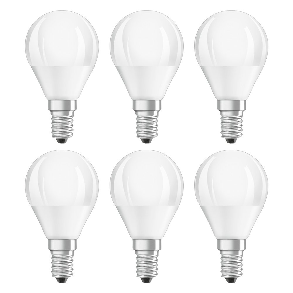 OSRAM LED SUPERSTAR CLASSIC P / LED lamp, classic mini ball shape, with screw base: E14, Dimmable, 6 W, 220…240 V, 40 W replacement, frosted, Warm White, 2700 K, 6x1pack