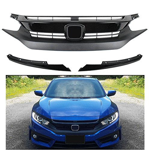 - MotorFansClub Front Grille Bumper for Honda Civic 10TH 2016 2017 Hood Grill Grille with Eye Lid, Black