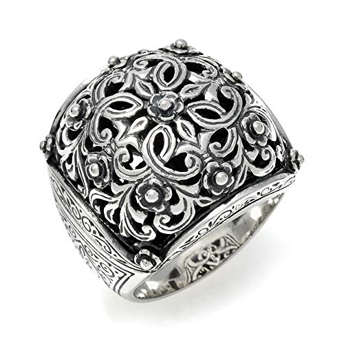 Konstantino Women's Classic Ornate 925 Sterling Silver Square Cushion Statement Ring, Size 7
