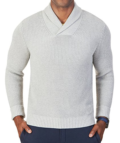 Nautica Ribbed Sweater (Nautica Men's Ribbed Shawl Collar Sweater, Grey Heather, XL)
