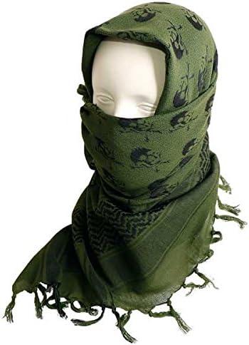SHENKEL スカル柄 アフガンストール シュマグ マフラー スカーフ (OD オリーブドラブ) 110×110cm アフガンスカーフ 綿100% サバゲー