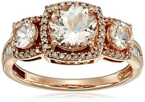 10k Pink Gold Round Morganite and White Diamond Ring (1/3...