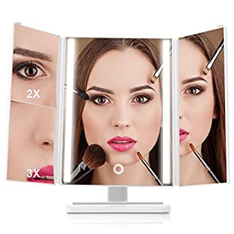 Trifold 24 LED Lighted Vanity Makeup Mirror with Touch Screen Dimming, 1x/2x/3x Magnification, 180 Degree Rotation, USB Charging or Battery Powered