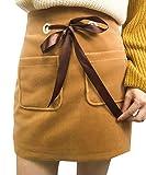 Fulok Womens Wool Blend Mini Skirt Belted Bodycon Skirt Dress
