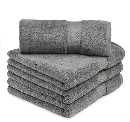 """Talvania Bath Towels – 100% Ring Spun Cotton 600 GSM Luxury Bath Towels   27"""" X 54"""" in Size and in A Set of Four. Perfect for Bathrooms & As A Baby Bath Towel (Grey)"""