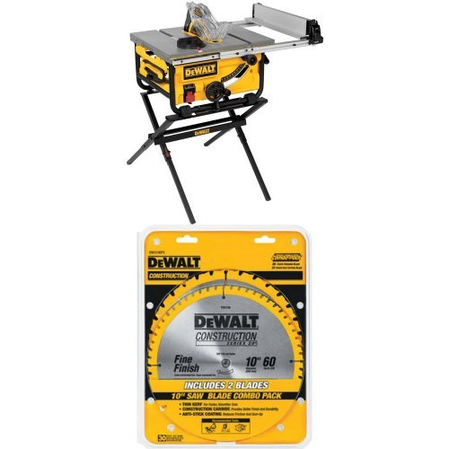 DEWALT DWE7480XA 10-Inch Compact Job Site Table Saw with Guarding System and Stand | DW3106P5 60-Tooth Crosscutting and 32-Tooth General Purpose 10-Inch Saw Blade Combo Pack