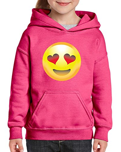 Xekia Emoji Smiling Face w Heart-Shaped Eyes Hoodie For Girls and Boys Youth Kids Large Azalea - Heartshaped Face