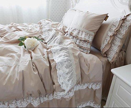 Abreeze Home Textile Floral Print Ruffle Duvet Cover, Girls Bedding Set 4 Pieces King Teal