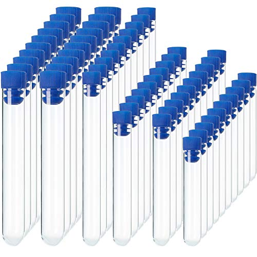 (Pangda 60 Pieces Clear Plastic Test Tubes with Blue Caps, 12 by 60 mm, 12 by 75 mm, 12 by 100 mm, 13 by 78 mm, 15 by 100 mm, 16 by 100 mm)