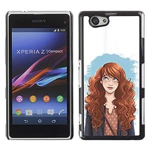 PC/Aluminum Funda Carcasa protectora para Sony Xperia Z1 Compact D5503 smart redhead girl fashion woman's rights / JUSTGO PHONE PROTECTOR
