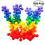 TOYMYTOY Snowflake Building Blocks Interlocking Plum Blossom Building Toy Interactive Puzzle Educational Learning Stem Toy with Storage Barrel Packaging for Kids Boys Girls 160Pcs (Random Color)