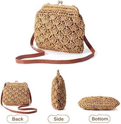 Vintage Kiss Lock Bag, JOSEKO Women Straw Crossbody Bag Casual Shoulder Handbag Evening Clutch Purse Summer Beach Party