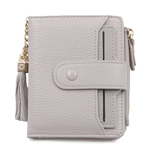Daughter Split Heart Charm - Women's RFID Mini Soft Leather Bifold Wallet With ID Window Card Sleeve Coin Purse(Gray)