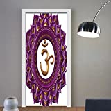 Gzhihine custom made 3d door stickers Decor Vivid Digital Mandala Circle with Lettering Secret Hidden Powers Zen Image Purple For Room Decor 30x79