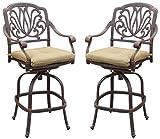 Darlee Elisabeth Cast Aluminum Swivel Bar Stool with Seat Cushion, Set of 2, Antique Bronze Finish For Sale