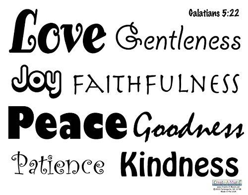 Create-A-Mural Scripture Wall Decals -Love Quote Words, Fruit of Spirit Vinyl Wall Decor Sticker Decals, Galatians 5:22