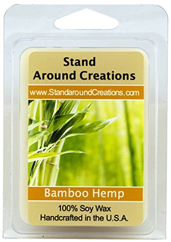 100% All Natural Soy Wax Melt Tart - Scent: Bamboo Hemp-An incredibly well-balanced blend of bamboo stalks, vetiver, and patchouli, with undertones of hemp seed and oak moss. 3 oz. -