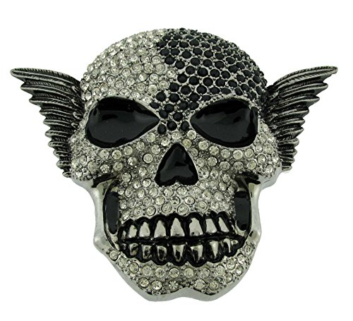 (Skull Bling Iced Out Hip Unisex Crystals Rhinestones Men's Women's Belt Buckle. (Skull Feather Black Silver Size:4.00