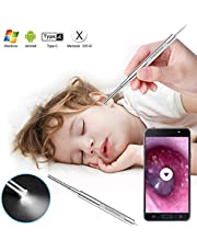 Otoscope, ScopeAround Ear Scope Ear Inspection Camera, Professional Ear Endoscope, Earwax Cleaning Kit with 6 Adjustable LED Lights for Micro USB & USB-C Android Devices, Windows