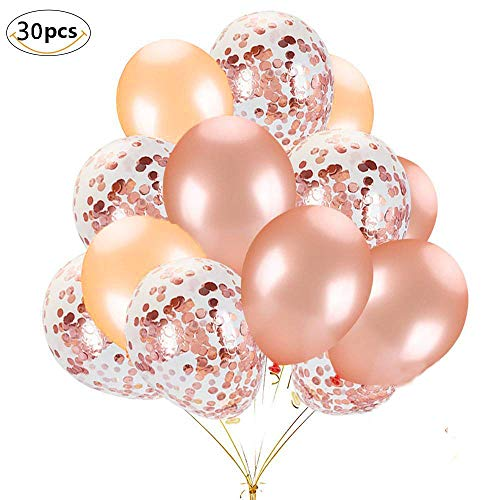 Rose Gold Balloons Set, Muyee 30pcs Party Balloons 12 Inch Rose Gold Latex Balloons Champagne Gold Balloon Confetti Balloons for Birthday, Weddings, Baby Shower Party -