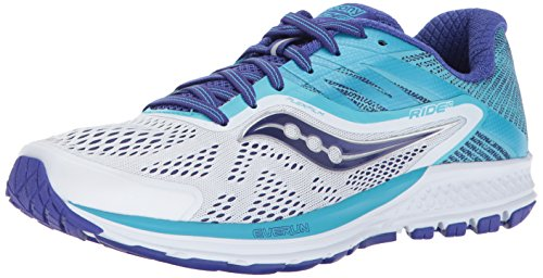 (Saucony Women's Ride 10 Running Shoe, White Blue, 11 Wide US)