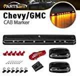 chevy oem cab lights - Partsam 3PCS Clear Lens Amber Yellow 12 LED Cab Roof Top Clearance Marker Lights for 2007 - 2014 Chevy Silverado/GMC Sierra 2500 3500