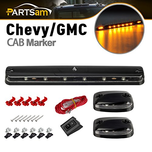 Partsam 3PCS Clear Lens Amber Yellow 12 LED Cab Roof Top Clearance Marker Lights for 2007 - 2014 Chevy Silverado/GMC Sierra 2500 (Lighting Cab Lights)