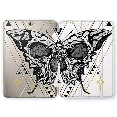 Wonder Wild Butterfly Skull Samsung Galaxy Tab S4 S2 S3 Smart Stand Case 2015 2016 2017 2018 Tablet Cover 8 9.6 9.7 10 10.1 10.5 Inch Clear Design Santa Muerte Bones Death Empty Geometrical Wings]()