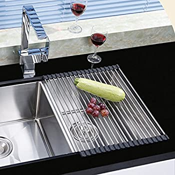 Large Dish Drainer Rack,Stainless Steel Over The Sink Kitchen Countertop  Folding Roll Up Dish