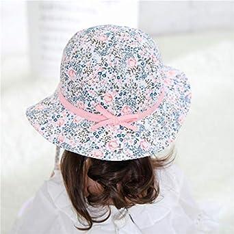 FEOYA Blanco Sombrero para Beb/é Ni/ña Estampado Flores Tipo de Pescador de Algod/ón Gorro Protecci/ón contra Sol