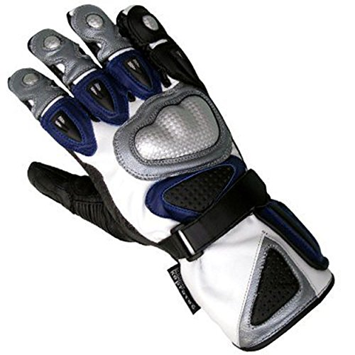 Juicy Trendz Cowhide Leather Motorbike Motorcycle Biker Gloves Blue