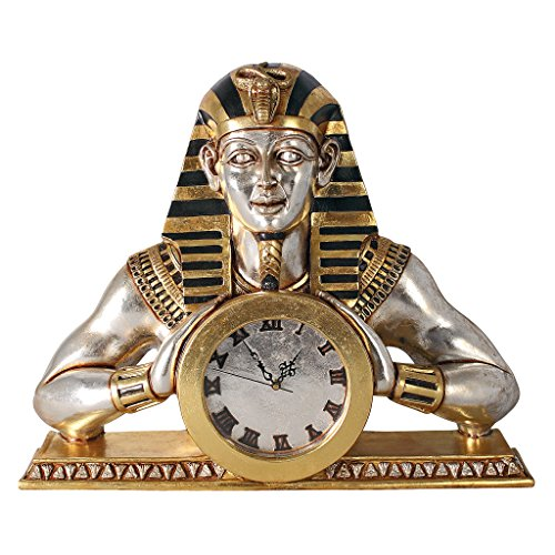 - Design Toscano Temple of Heliopolis Egyptian Pharaoh Desk Mantel Clock Statue, 26 Inch, Gold and Silver Leaf