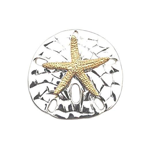 (Large 2-Tone Textured Sand Dollar Starfish Pendant Slide Brooch Sea Life Beach Fashion Jewelry Lead-Free)
