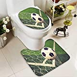 aolankaili Toilet carpet floor mat soccer ball in goal vintage color 2 Piece Shower Mat set