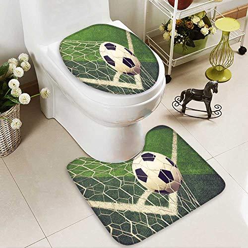 aolankaili Toilet carpet floor mat soccer ball in goal vintage color 2 Piece Shower Mat set by aolankaili