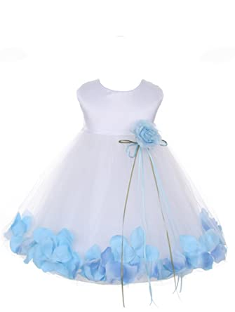 2a04e8bc8b6 StylesILove Floating Petals White Satin Tulle Baby Girl Flower Girl Dress (S  3-