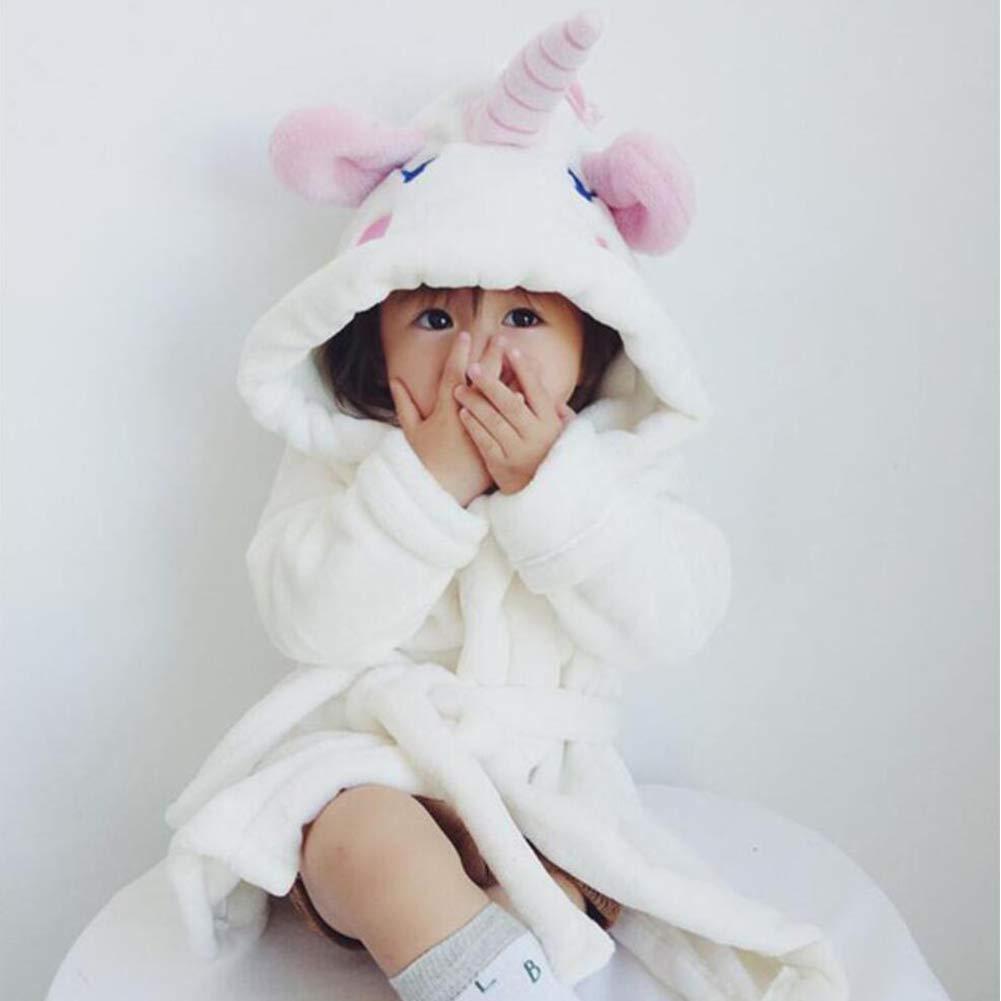 BETTERLE Baby Kinder Bademantel Flanell Unicorn Robe mit Kapuze Kinder Handtuch Tier Pyjamas Morgenmantel Cosplay Kost/üme Nachtw/äsche Nachtw/äsche f/ür Jungen M/ädchen