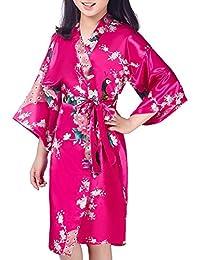 Admireme Girls' Peacock Satin Kimono Robe Bathrobe Nightgown