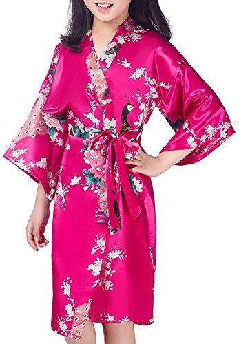 Admireme Girls' Peacock Satin Kimono Robe Bathrobe Nightgown for Spa Party Wedding Birthday Rose Red]()
