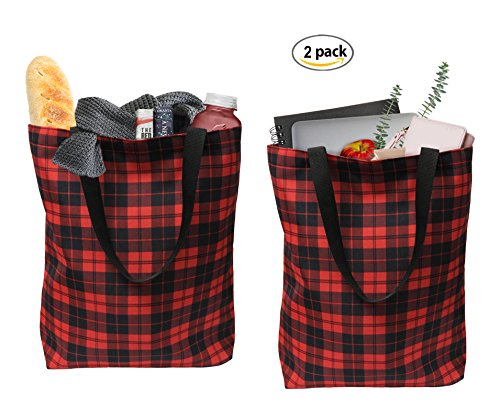 Earthwise Plaid Everyday Shopping Bag Tote Large for Grocery, Gift, 17