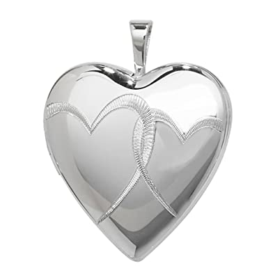 Sterling Silver I Love You Engraved 2 Photo Flower Heart Shaped Locket 15x15mm zDR276