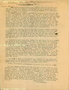 "William Barclay ""Bat"" Masterson - Annotated Typed Manuscript (Signed)"