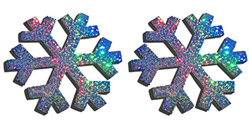 Two Holographic Snowflake Magnets (Sparkling)