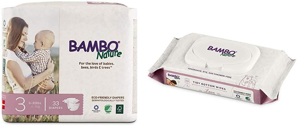 Bambo Nature Premium Baby Diapers, Size 3 (9-20 lbs), 33 Count with Bambo Nature Tidy Bottoms Baby Wipes 50 Sheets