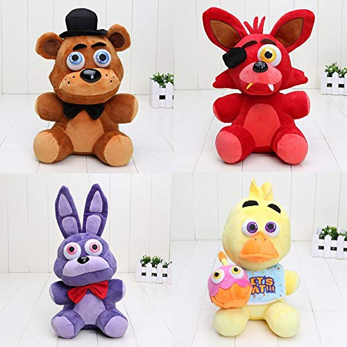 PAPCOOL Set 4 FNAF Plush Toys 9 inch Hot Toy Foxy Bonnie Freddy Bear Mini Cute Stuffed Keychain Sister Location Dolls Christmas Halloween Collectable Gift Gifts Stuff Collectible Collectibles for Kids ()