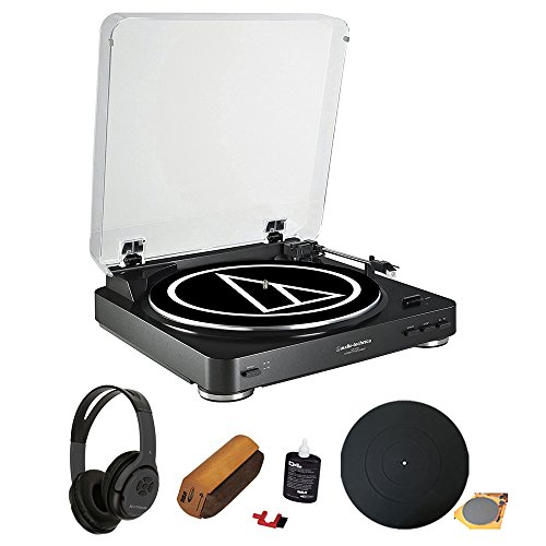 - Audio Technica AT-LP60BK Fully Automatic Belt-Drive Stereo Turntable with two speeds: 33-1/3, 45 RPM - Black with Open-Ear Headphones and Record Cleaner Brush