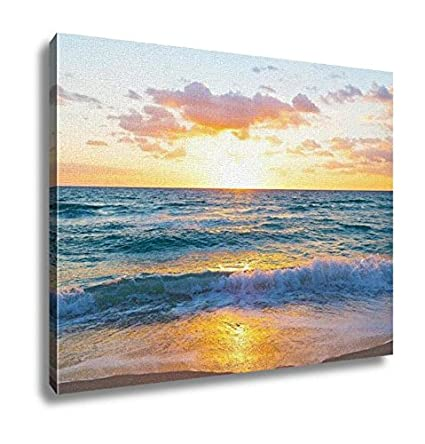 Amazoncom Ashley Canvas Sunrise Over The Ocean In Miami Beach - Painting miami