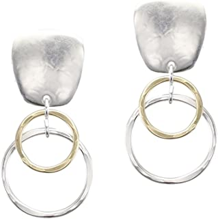 product image for Marjorie Baer Clip Earring with Layered Ring Drop in Brass and Silver