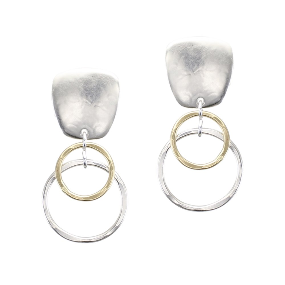Marjorie Baer Clip Earring with Layered Ring Drop in Brass and Silver