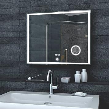 luxaqua espejo de pared espejo con luz led reloj de pared espejo del bao